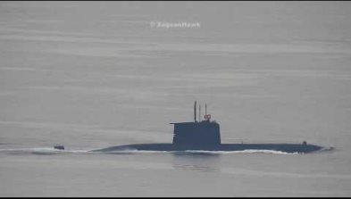 Turkish Navy submarine Preveze class southbound Chios Strait.